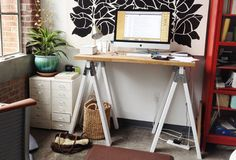Sawhorse Standing Desk   Your Backbone Will Thank You: 6 Great Standing Desk Designs