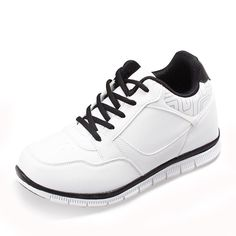 White  mens lift shoes 8cm / 3.15inch with the SKU:MENGOG_1391 - Men Height Increasing Sneakers Add Taller 8cm / 3.15inches Elevator Casual Sports Shoes
