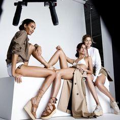Snapshot: @joansmalls @gigihadid and @lilyaldridge for @stuartweitzman 's Spring 2016 campaign, lensed by @mariotestino .  #instafashion #instastyle #fashion #Fashionbombdaily #style #gigihadid #joansmalls #stuartweitzman #lilyaldridge