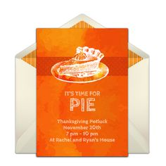 This pumpkin pie-inspired invitation design is a favorite on Punchbowl. We love it for a Thanksgiving feast. Easily personalize and send via email.