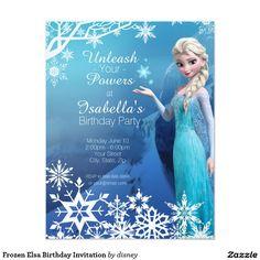"Frozen Elsa Birthday Invitation 4.25"" X 5.5"" Invitation Card"