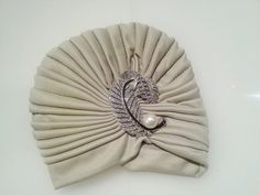 Beige full turban, vintage inspired gatsby style
