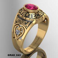 ANILLOS DE GRADUACION #1 — WWW.HACEMOSTUSJOYAS.COM Mens Gemstone Rings, Gents Ring, Ring Necklace, Class Ring, Rolex, Bracelet Watch, Jewels, Bracelets, Accessories