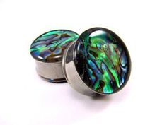 Abalone Shell Embedded Plugs gauges 00g by mysticmetalsorganics on Wanelo