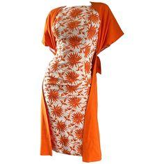 a0610c6cc8f 1950s Demi Couture Orange + Ivory White Vintage 50s Wiggle Dress and Jacket  Set