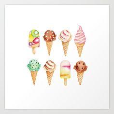 Cool Sweets / Watercolor Ice Cream Art Print Ice Cream Art, Textile Design, Spoonflower, Watercolor Art, Clip Art, Textiles, Sweets, Art Prints, Creative