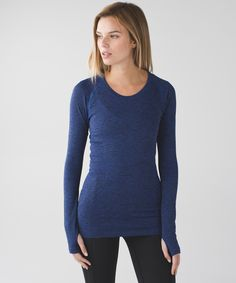 A long-sleeve layer designed with running (and sweating) in mind. - Heathered Sapphire Blue in 10