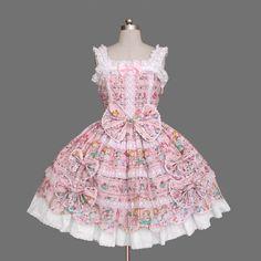 Lovely Floral Pattern Sleeveless Sundress Trumpet Lolita dress