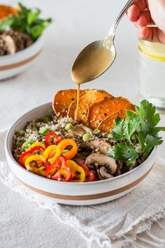 Sweet Potato and Quinoa Power Bowl with Asian Tahini Dressing I foolproofliving.com