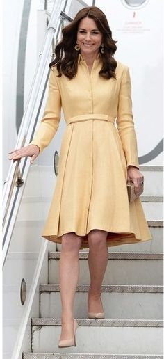 Kate Middleton's > April Arriving at Paro International Airport in Bhutan, wearing Emilia Wickstead. Pippa Middleton Wedding, Kate Middleton Dress, Kate Middleton Style, Lilac Dress, Blush Dresses, Yellow Dress, Yellow Coat, Princesse Kate Middleton, Kate Middleton Prince William
