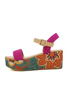 Stylish Printed Open-Toe Buckle Strapy Sandals in Color Block-morden shoe, fancy color, fashion sandal