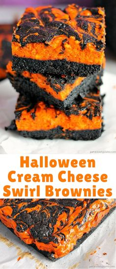 halloween cream cheese swirl brownies have a layer of rich dark chocolate brownie topped with