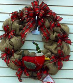 Burlap wreath with pointsettias and stuffed red felt bird. Christmas Laura A. Christmas Mesh Wreaths, Burlap Christmas, Deco Mesh Wreaths, Christmas Decorations, Christmas Floral Arrangements, Felt Birds, Red Felt, Holiday Decorating, Burlap Wreath
