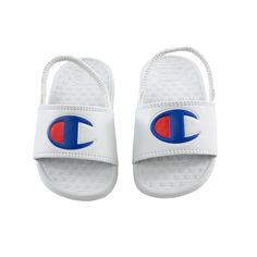 The (TD) Super Slides are perfect for everyday casual wear. Synthetic/Leather upper Slingback C logo on the front Baby Boy Shoes, Baby Boy Outfits, School Shoes, Shoe Size Conversion, White Brand, Fur Boots, Shoe Size Chart, Casual Wear, Champion