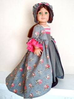 """RESERVED FOR SYD: Felicity's Marie Antoinette """"Pewter and Peonies"""" Colonial Gown and Round-Eared Cap, also for Elizabeth"""
