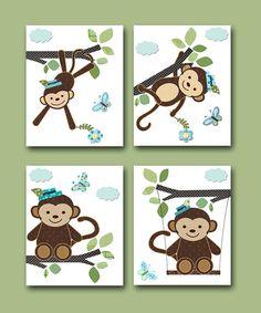 "Monkey Nursery Baby Boy Nursery art print Children Wall Art Baby Room Decor Kids Print set of 4 8"" x 10"" monkey blue green on Etsy, $56.00"