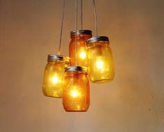 Lemons and Oranges - Mason Jar Chandelier - 4 pint jars - Handcrafted Mason Jar Lighting Fixture - Upcycled BootsNGus Lamp - Direct Hardwire. $110.00, via Etsy.