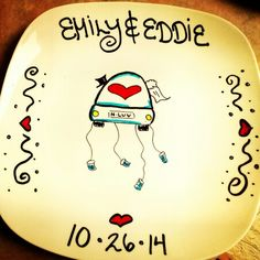 """Personalized ceramic plates """"wedding/anniversary plate"""" Can personalize plates, mugs, wine glasses, bowls, ornaments etc! Check out my fb page michelle's Personalized creations or my instagram michellespersonalizedcreations With more of my work! Plates are $27.99 free shipping anywhere in us! ☺ Personalized Plates, Fb Page, My Fb, Ceramic Plates, Wedding Anniversary, Bowls, Wine, Ceramics, Free Shipping"""