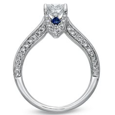 {Vera Wang LOVE} Princess-Cut Diamond + Sapphire Engagement Ring