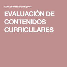 EVALUACIÓN DE CONTENIDOS CURRICULARES