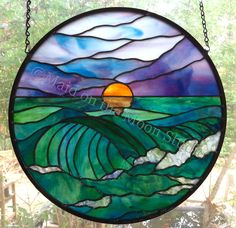 Sunrise & Waves stained glass panel- Maid on the Moon Studio Stained Glass Tattoo, Stained Glass Studio, Stained Glass Designs, Stained Glass Panels, Stained Glass Projects, Stained Glass Patterns, Leaded Glass, Stained Glass Art, Mosaic Art