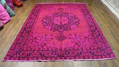 7x10 Antique Persian Tabriz Overdyed Rug Hot Pink 2728 -$3499