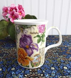 Colorful Iris Lillies Daffodils Botanical Mug Roy Kirkham Secret Garden 1997 Bone China