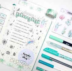 Look at this super cute bullet spread by @oceanstudy featuring MissRosie's Flower Garden Washi Tape!