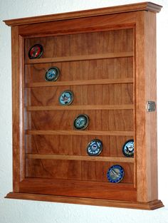 42 Challenge Coin Display Case Cabinet-cherry Hardwood