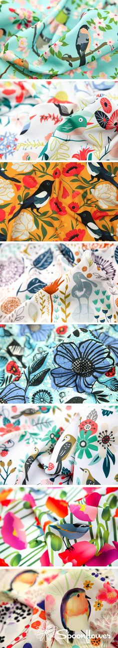 TheBirds and Blooms Design Challenge - Birds and blooms go together like copy and paste! We can't get enough of watching our feathered friends fly from one plant to the next as they aid in the crucial pollination process that helps plants thrive.  Click to see the top 10 design challenge winners #design #surfacedesign #fabric #birds #watercolor #sewing