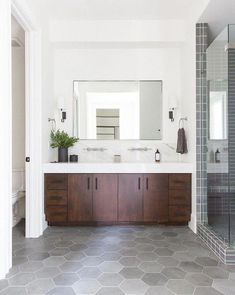 MASTER BATH, VANITY, TILE, MARBLE, GRANITE, WHITE AND OFF WHITE, MODERN AND TRADITIONAL. #Bathroomremodel Bathroom Vanity, Bathroom Styling, Bathroom Interior, Bathroom Furniture, Small Bathroom, Bathroom Cabinets Diy, Bathroom Design Inspiration, Bathroom Flooring, Tile Bathroom