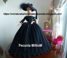 Vestido de Época em Crochê Para Boneca Barbie - Sra. Inglesa do Séc. XVIII Por Pecunia MillioM 1