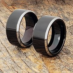 Kana black silver rings with a polished silver beveled edge. Kana is a width and available in several widths for men and women. Black Tungsten Rings, Tungsten Carbide Rings, Tungsten Wedding Bands, Wedding Rings, Black Rings, Silver Rings, Rings For Men, Vintage, Boyfriends
