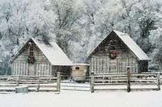 Winter on the Ranch Country Barns, Old Barns, Country Life, Country Roads, Country Living, Country Style, Barn Living, Country Houses, Country Charm