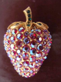 Vintage AB Rhinestone Strawberry Brooch  AB Red by TheClassyLady, $16.00