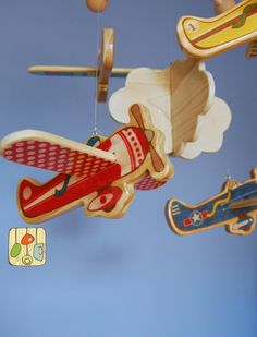 Baby Mobile Airplanes - Wood Mobile - Vintage Airplanes. $90.00, via Etsy.