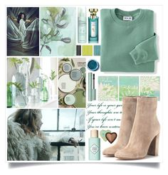 """Getting Ready For Winter In Green"" by angelstylee ❤ liked on Polyvore featuring Better Homes and Gardens, Blair, Gianvito Rossi, Benefit, Liz Earle, Lime Crime and Bulgari"