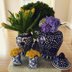 Blue & white, yellow flowers, tulips, hydrangeas, decoration