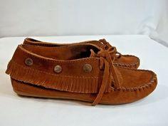 Minnetonka Moccasin Brown Fringe Tie  Loafer 7 Embellished Hard Sole #MinnetonkaMoccasin #LoafersMoccasins #Casual