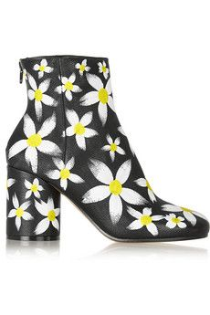 Maison Margiela Painted daisy-print textured-leather ankle boots | NET-A-PORTER