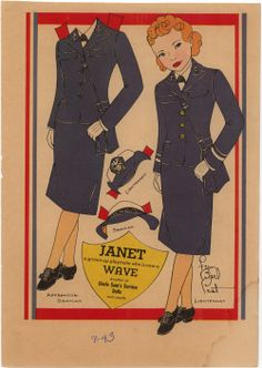 """""""Janet ~ A grown-up playmate who is now a WAVE. Another of Uncle Sam's Service Dolls."""" ~ WWII era girl's military toys, September 1943."""