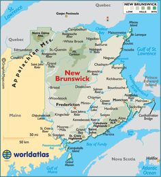 New Brunswick, CN   Map showing the province of New Brunswick. My family is from the Hartland and Newcastle areas.
