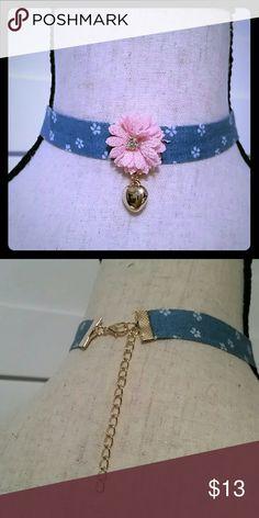 Flower & Heart Denim Choker Adorable flower & heart denim choker (pink flower). Jewelry Necklaces