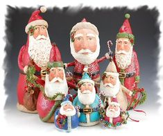 Kathy Cornell Paper Mache | Santa Claus Figurines and Hand Carved Wooden Santas wonderful collection