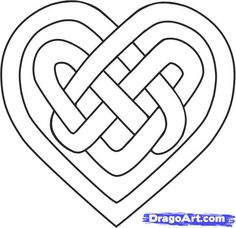 How to Draw a Celtic Knot, Step by Step, Symbols, FREE Online Drawing Tutorial Kirigami, Celtic Quilt, Heart Coloring Pages, Colouring Pages, Celtic Symbols, Celtic Art, Mosaic Patterns, Embroidery Patterns, Celtic Heart Knot