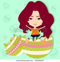 Cute Easter girl in easter egg background, create by vector