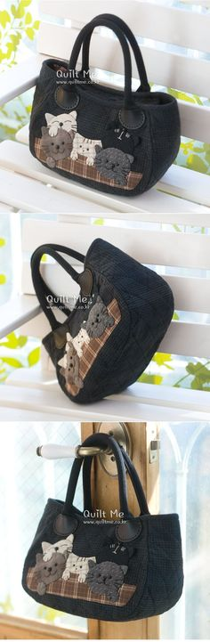 [*다섯마리 냥이들 미니토트백*] Japanese Bag, Japanese Quilts, Patchwork Bags, Quilted Bag, Bag Quilt, Work Handbag, Denim Handbags, Cat Bag, Denim Bag