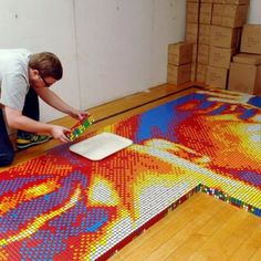 Mosaic created with 4242 Rubik's Cubes...