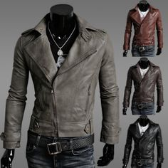 2017 men's clothing slim male leather jacket outerwear male