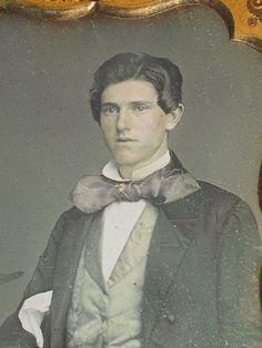 1 4 Plate Tinted Daguerreotype Handsome Young Man Large Hat Tie Crisp | eBay